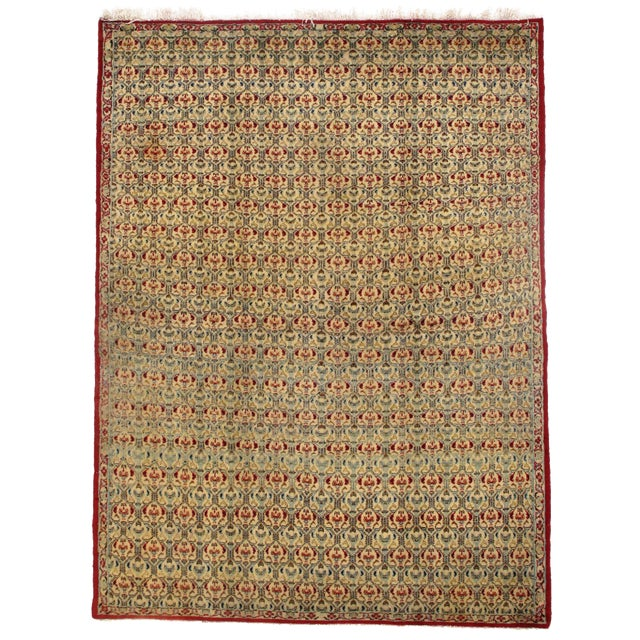 Antique Persian Isfahan Area Rug - 5′ × 6′9″ For Sale