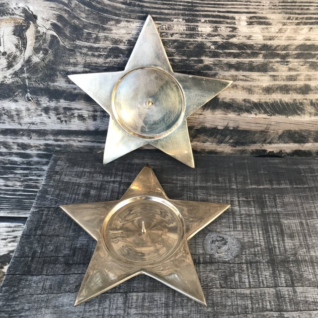 Brass Vintage Star Shape Solid Brass Pillar Candle Holders - a Pair For Sale - Image 7 of 9