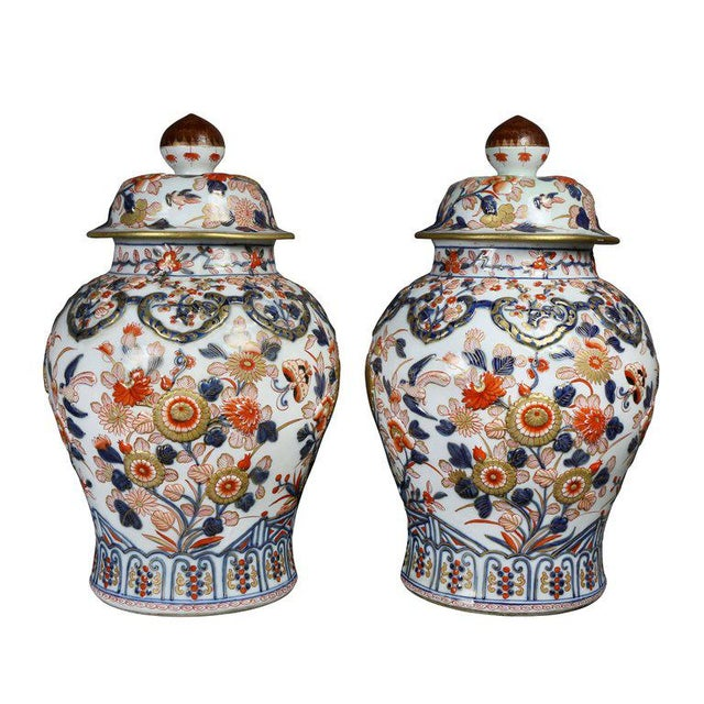 1900 - 1909 Pair of Samson Export Style Covered Temple Jars For Sale - Image 5 of 10