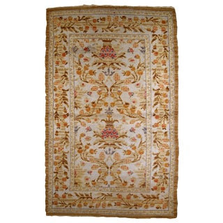 1920s, Handmade Antique Spanish Savonnerie Rug 3.2' X 5.3' For Sale