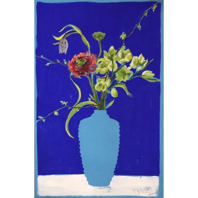 Contemporary Flowers in Turquoise Vase Still Life Painting by Gretchen Kelly For Sale - Image 3 of 3