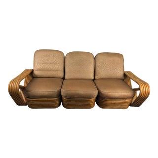 Mid-Century Paul Frankl Pretzel Rattan Standard Sofa For Sale