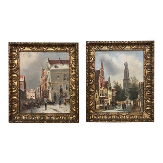 Antique Framed Oil Paintings on Board - A Pair For Sale