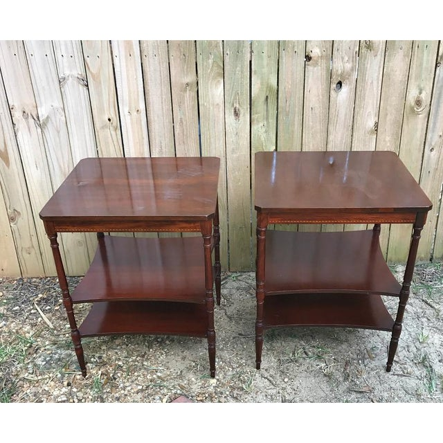 Vintage Mersman #7160 3 tier end/side tables. Strong and sturdy. a few scratches. Top of tables has some sort of water...