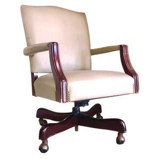 Paoli Industries Leather Studded Executive Armchair For Sale