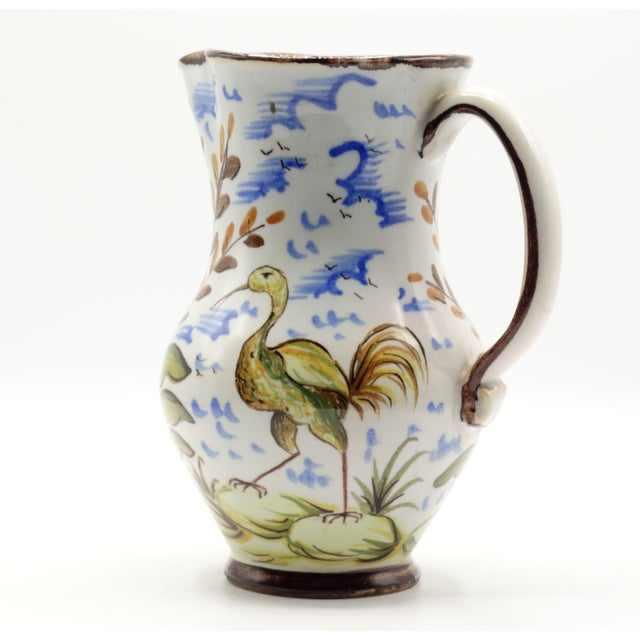 Ceramic French Faience Pitcher With Bird For Sale - Image 7 of 7