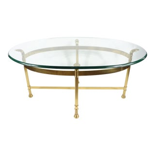 1960s Mid Century Modern Italian Glass Gold Clam Shell Footed Coffee Table For Sale