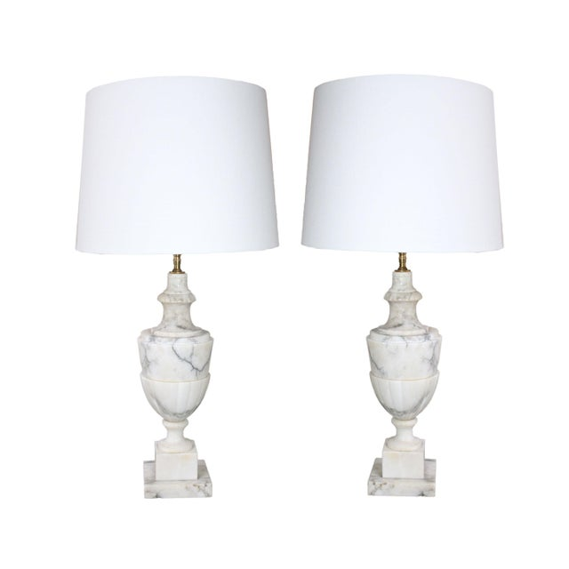 Metal Italian Neoclassical White Alabaster Urn Lamps From Italy With White Linen Shades - Pair For Sale - Image 7 of 7
