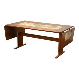 Gangso Mobler Teak & Tile Drop Leaf Dining Table For Sale