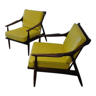 Danish Modern Walnut Lounge Chairs - A Pair For Sale