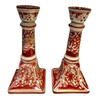 Handpainted Portuguese Candlesticks For Sale