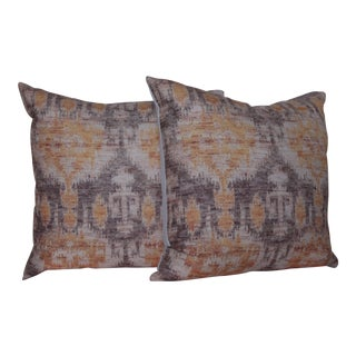 Yellow Vintage Ikat Print Pillows - A Pair For Sale