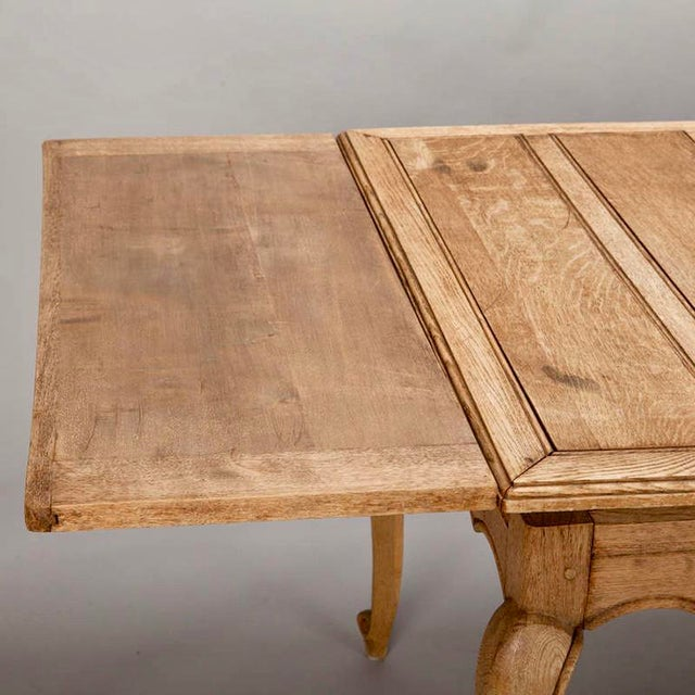 French Bleached Oak Table with Self Storing Leaves - Image 7 of 9