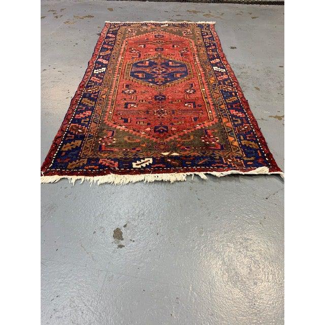 Vintage Orange, Red, Blue Hamadan Wool Rug For Sale - Image 4 of 4