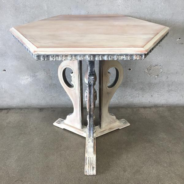 1920u0027s Distressed Occasional Pedestal Table   Image 5 ...