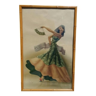 1940s Vintage Spanish Dancer Girl With Fan Print by Telo Bamboo Frame
