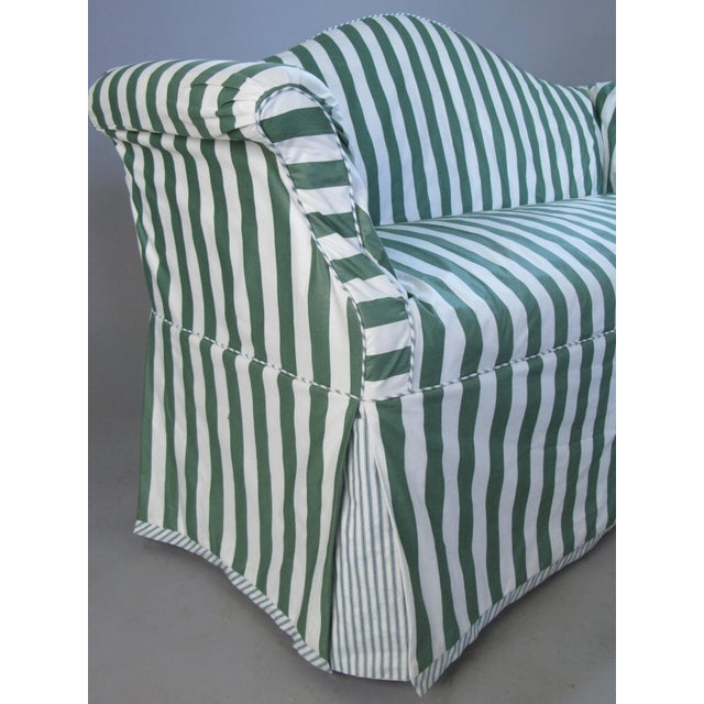 White Petite Camelback Settees With Slipcovers in Green & White - a Pair For Sale - Image 8 of 10