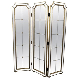 Three-Panel Mirrored Folding Screen For Sale