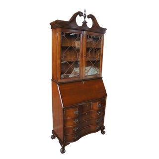 19th Century Chippendale Oxbow Walnut Secretary Desk Bookcase For Sale
