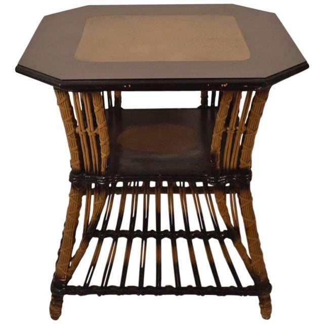 Brown Art Deco Wicker Table For Sale - Image 8 of 8