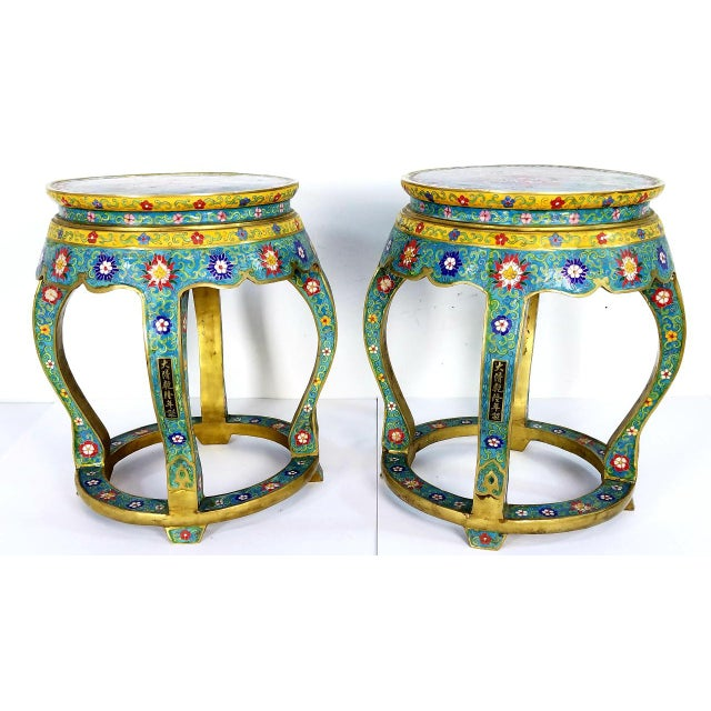 Chinese Cloisonne Bronze Stools - a Pair For Sale - Image 13 of 13