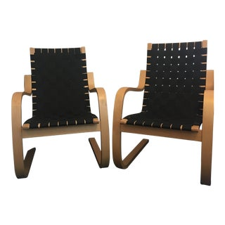 1990s Vintage Artek Alvar Aalto Lounge Chairs- A Pair For Sale