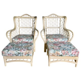1980s Vintage Sculptural Rattan Faux Bamboo Wing Chairs With Ottomans by Lane- 4 Pieces For Sale
