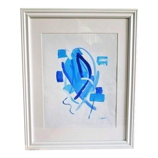 """""""Sky Blue 2"""" Blue & White Acrylic Painting With White Frame"""