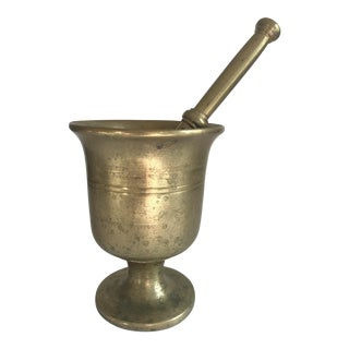 Vintage Brass Pharmacy Mortar and Pestle Rx