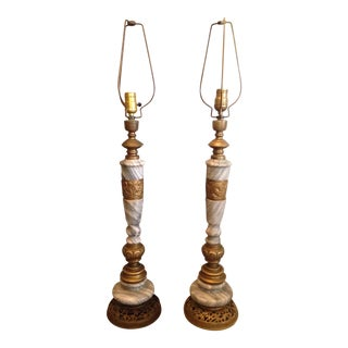 Vintage Etched Brass and Marble Asian Table Lamps - a Pair For Sale