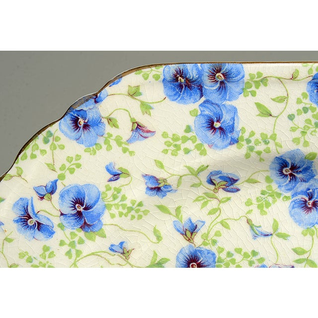 Farmhouse Lord Nelson Pansy Chintz Square Plate For Sale - Image 3 of 6