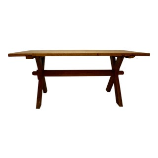 """Pine and Oak """"X"""" Base Trestle Table For Sale"""