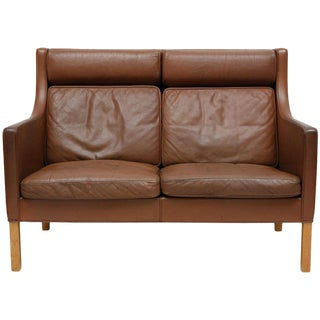Borge Mogensen Leather Settee For Sale