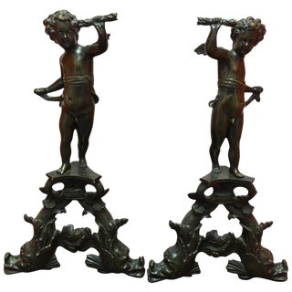 Pair of French Bronze Figural Cherub Andirons, 19th Century For Sale