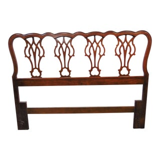 Chippendale Mahogany Queen Size Headboard For Sale