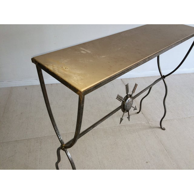 French Andre Arbus Steel Limestone Console For Sale - Image 3 of 6