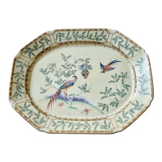 "Mottahedeh Ching Garden 13"" Octagonal Pheasant Platter For Sale"