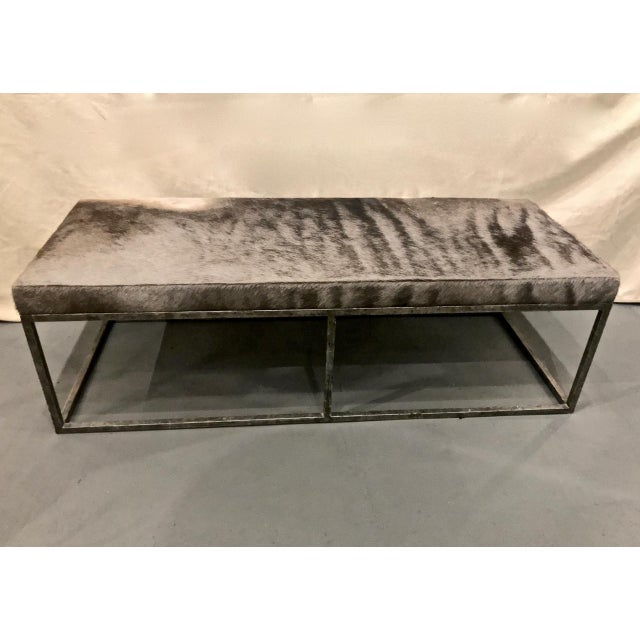 Late 20th Century Vintage Forged Iron and Hide Bench For Sale In Los Angeles - Image 6 of 7