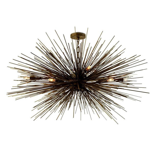 Metal Eight-Light Lumière Chandelier by Jean De Merry Design For Sale - Image 7 of 7