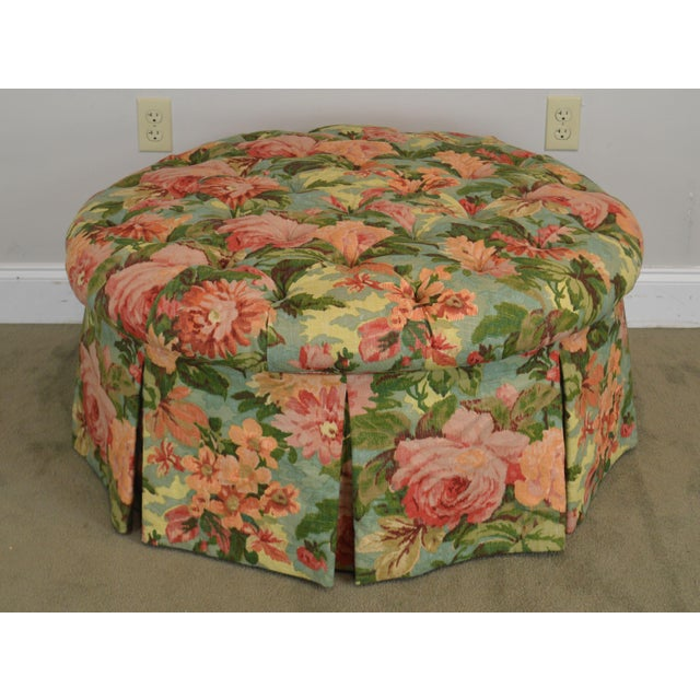 Phenomenal Custom Floral Upholstered Round Tufted Ottoman Onthecornerstone Fun Painted Chair Ideas Images Onthecornerstoneorg