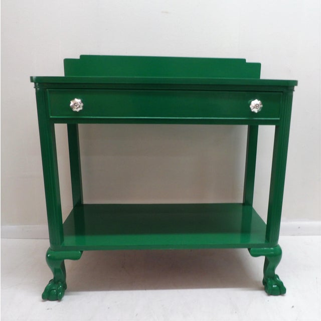 Antique Green Lacquer Wood Console Table For Sale - Image 11 of 11