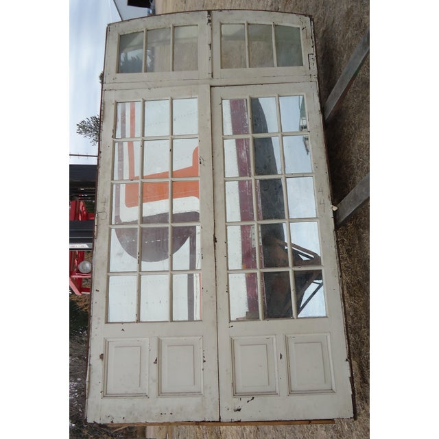 Mirrored Antique French Doors With Arched Transom For Sale - Image 4 of 8