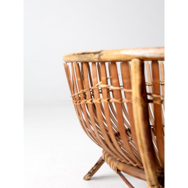 Wood Mid-Century Rattan Basket For Sale - Image 7 of 13