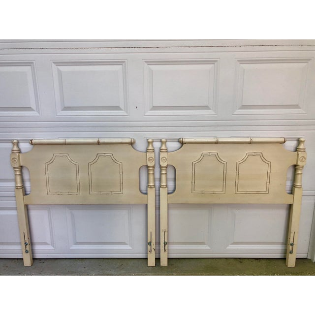 Faux Bamboo Pagoda Twin Headboards- a Pair For Sale - Image 9 of 9