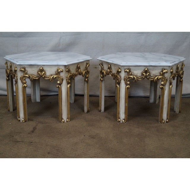 Hollywood Regency Partial Gilt Side Tables - Pair - Image 3 of 10