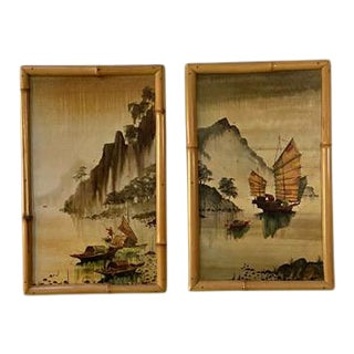 Mid-Century Bamboo Framed Chinoiserie Diptych Paintings, Pair For Sale