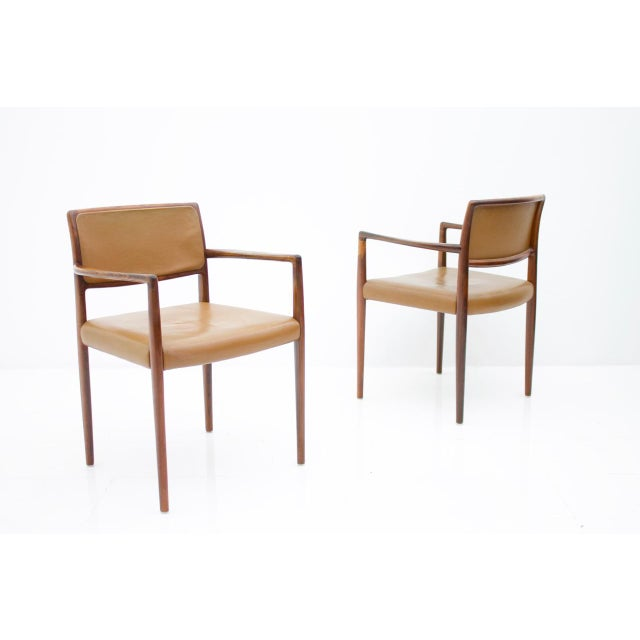 Scandinavian Armchairs in Rosewood and Brown Leather 1960s For Sale - Image 9 of 9