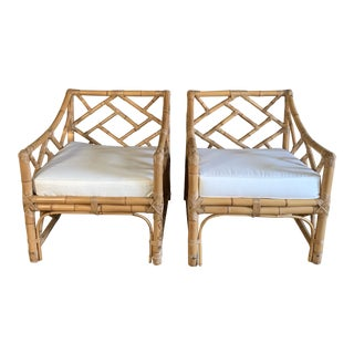 Bamboo and Rattan Club Chairs- a Pair For Sale