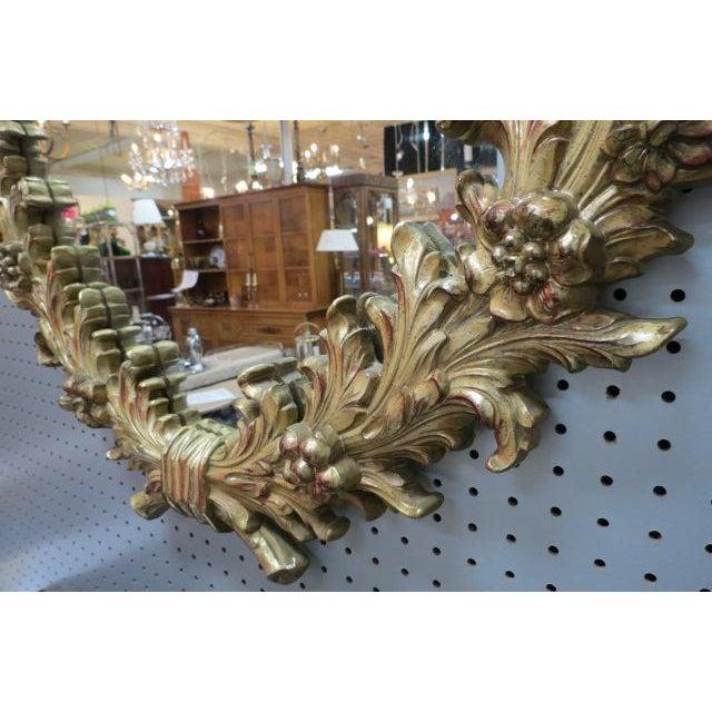 1960 Vintage Hollywood Regency Gilt Oval Mirror For Sale - Image 4 of 5
