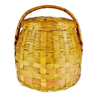 Vintage Woven Wicker Lidded Basket For Sale